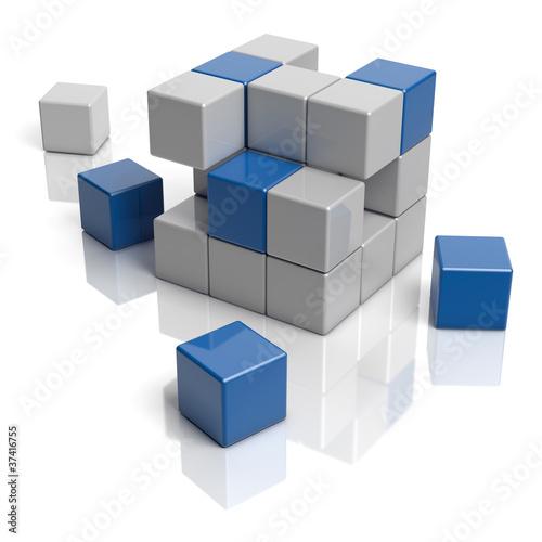 Graue und blaue Bausteine