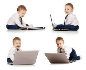 set of cute child using laptop