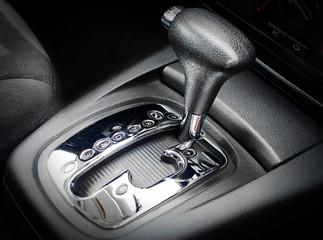 Automatic gear shift, close up, car interior