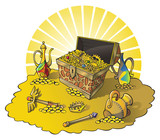 Treasure chest and other wealth, vector illustration poster
