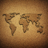world map pattern on chipboard poster