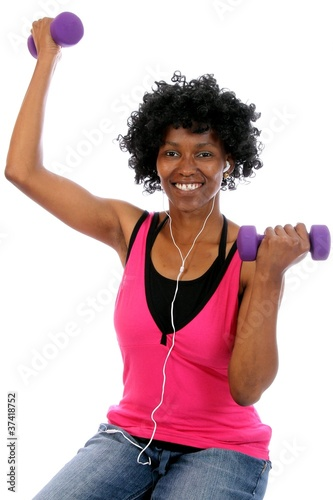 African Lady doing Gym Workout