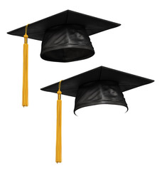 3D render of black graduation cap
