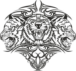 Vector illustration head tiger with patterns