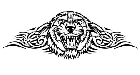 Vector illustration head tiger with patterns