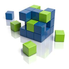 Grüne und blaue Bausteine