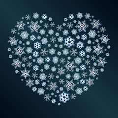 Snowflakes in the form of a heart.