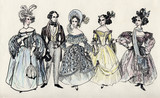 group of fancy man and women 18 century.