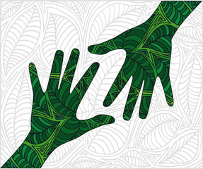 Hand shape made with abstract plants pattern. vector illustratio