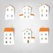 set of vector stickers. Houses