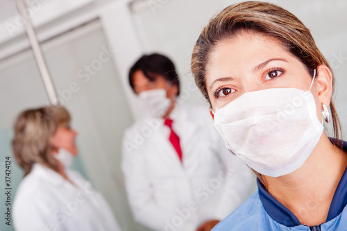Female doctor with facemask