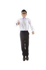 Businessman with thumb-up jumping
