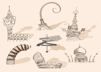 Travel original hand drawn collection caricature