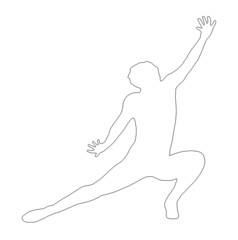 Outline Dancing Lady Kneeling Spread Leg