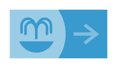 signe, symbole, picto, logo, flèche, source, eau, fontaine