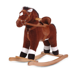 brown plush rocking horse isolated on white background