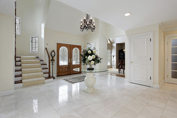 Foyer with stained glass door windows