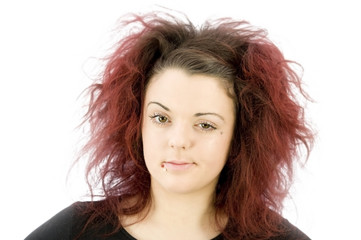 teenage girl looking smug