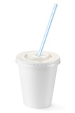 Disposable cup of small volume for beverages with straw