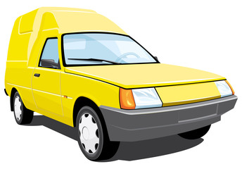 Vector isolated yellow pickup without gradients
