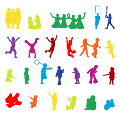 Vector set of children playing silhouettes