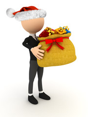 3d character with Christmas bag over white