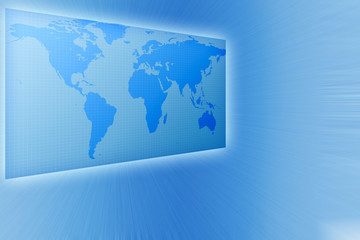 business world map in  blue tones