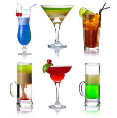 Set of alocohol coctails with fruits isolated on whit