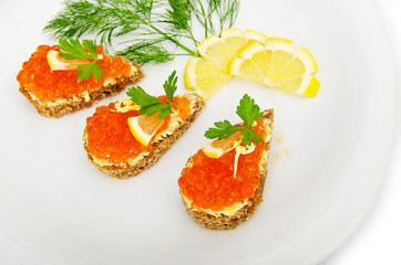 Red caviar served in the plate