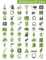 60 3D Webicons grün grau