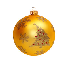 The golden Christmas ball isolated on white