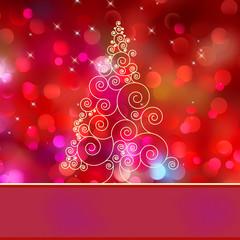 Christmas tree card with tree. EPS 8