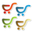 Vector stickers of shopping trolley