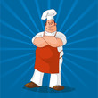 Confident Cook on Blue Background