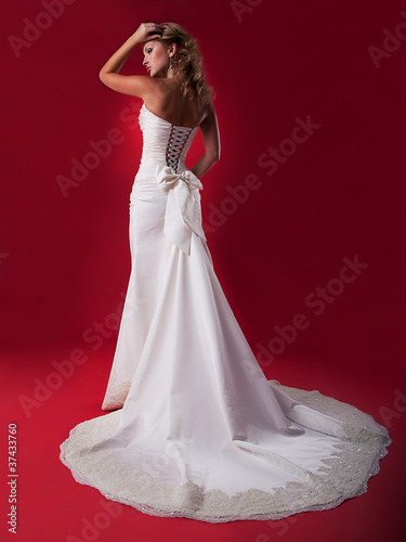Bride in long white bridal dress
