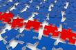 Viele Puzzlestücke in 3D