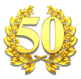 50 fifty number laurel wreath