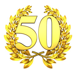 50 fifty number laurel wreath