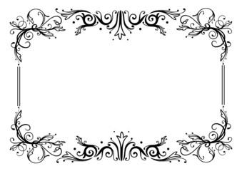 Rahmen, Ranke, flora, Blumen, Blüten, filigran, schwarz