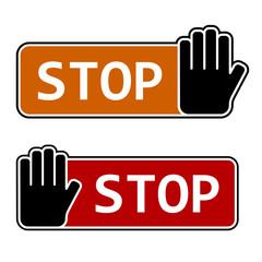 vector stop hand gesture labels