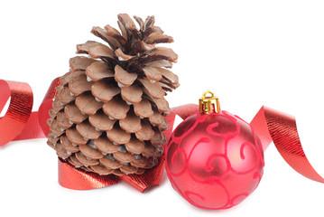 Tree cones and christmas ball