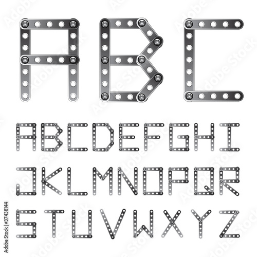 vector metal screwed alphabet font