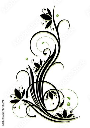 Vektor ranke flora blumen blüten filigran schwarz grün