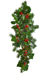 Straight Christmas garland isolated.