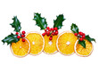 Dried orange and holly Christmas decoration isolated