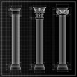 classic columns background sketch, vector
