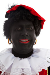 Portrait of laughing Zwarte piet ( black pete)