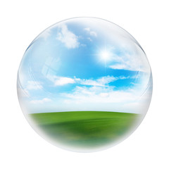 landscape inside sphere