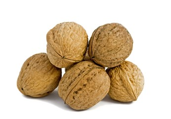 Few walnuts on the isolated white background