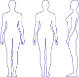 Naked standing woman vector sihouette